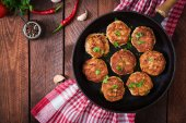Juicy delicious meat cutlets in pan
