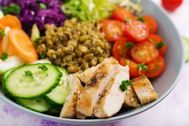 Healthy salad with chicken