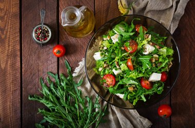Salad of vegetables with feta cheese and nuts