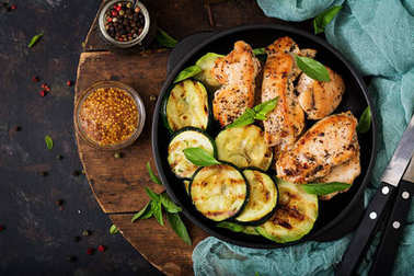 Chicken fillet with zucchini on pan