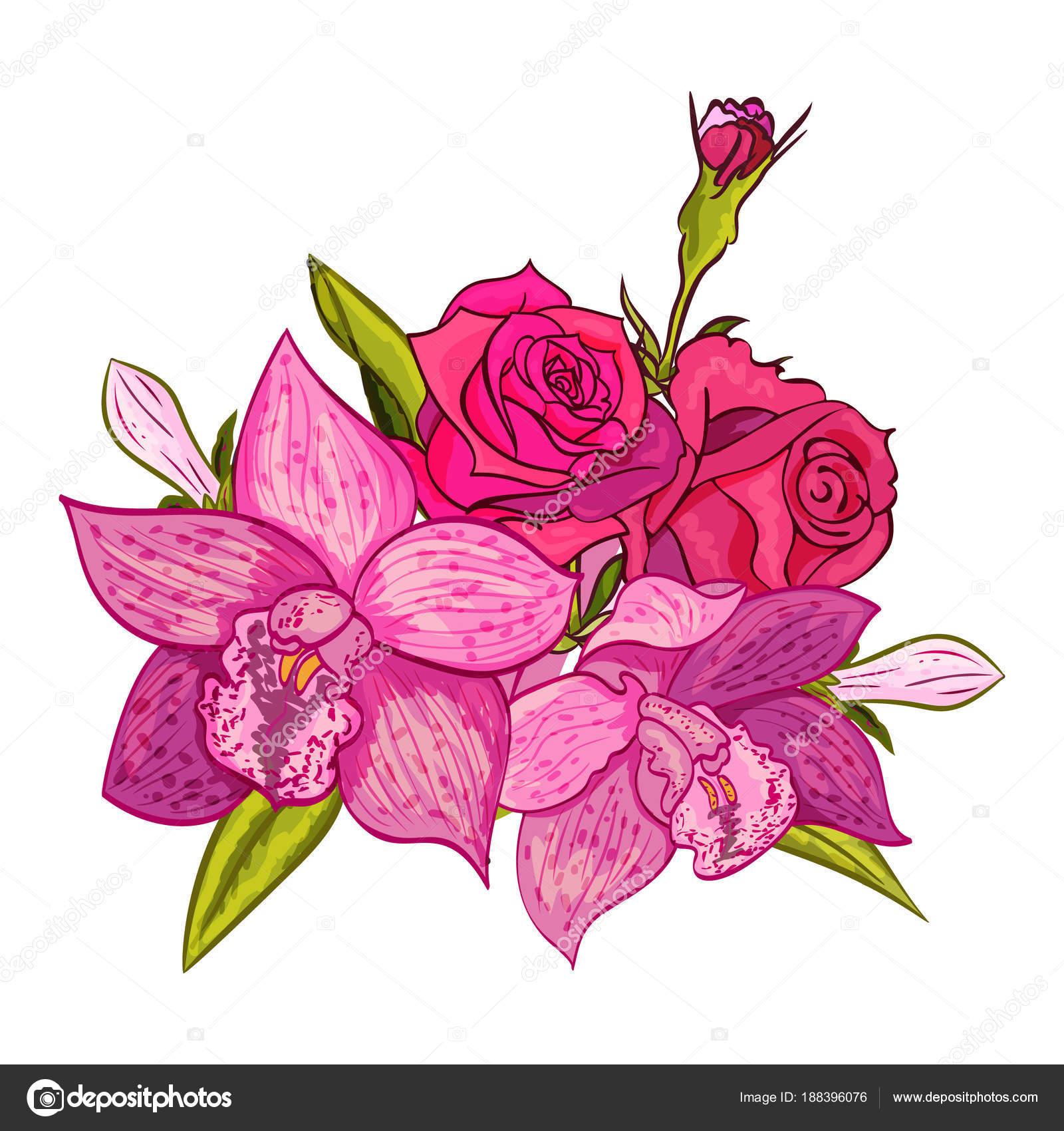 Vector Bouquet Of Flowers Stock Vector Olgakononok 188396076