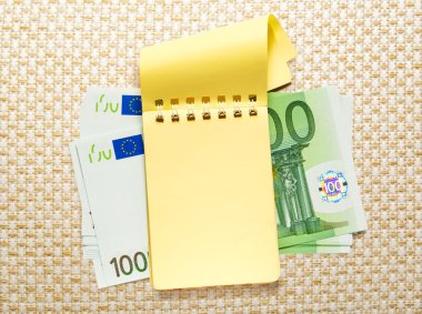 One hundred euro banknotes and yellow notepad