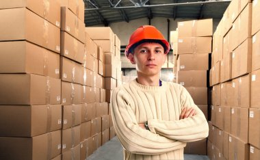 Workman in red helmet inside goods storehouse stock vector