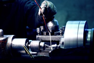 Turning lathe in workshop