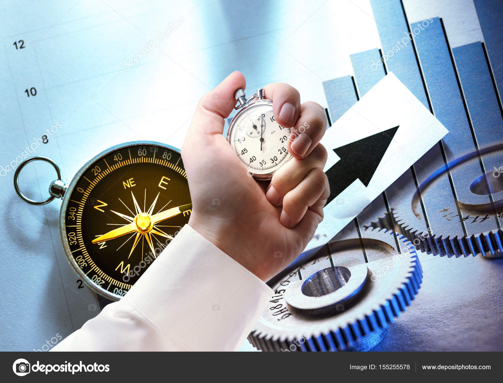 Compass diagram cogwheels and stopwatch in hand stock photo compass diagram cogwheels and stopwatch in male hand photo by garsya pooptronica
