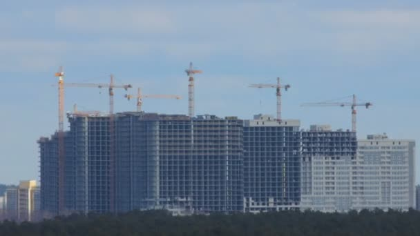 Construction of multi-storey buildings. Time-lapse.
