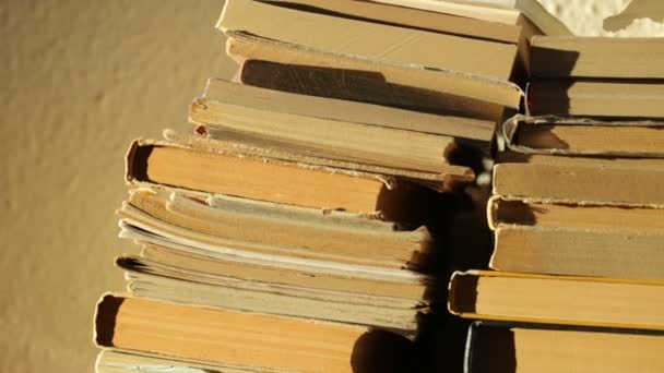Egy halom régi könyv napfényben.