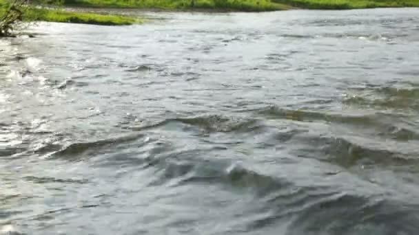 Rychlý proud řeky v letním dni