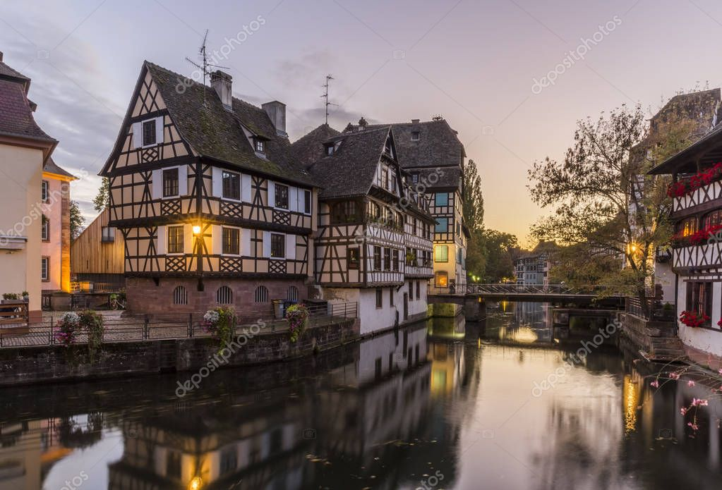 Evening view of Petite France - a historic quarter of the city of Strasbourg