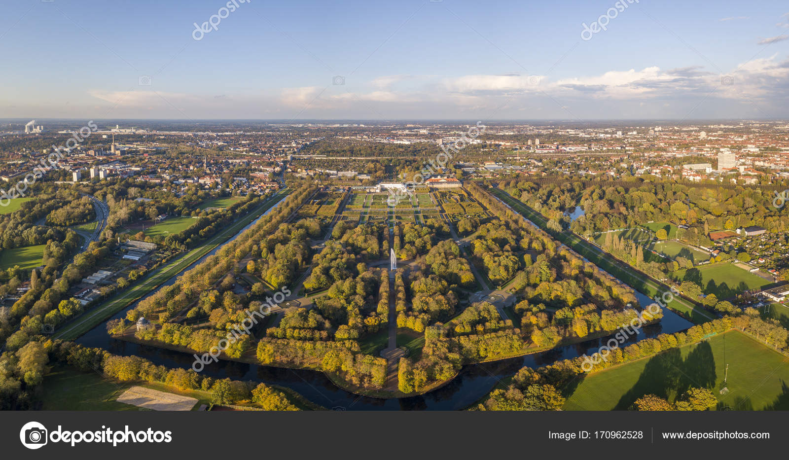Aerial View Of Herrenhausen Gardens In Hannover Germany Stock