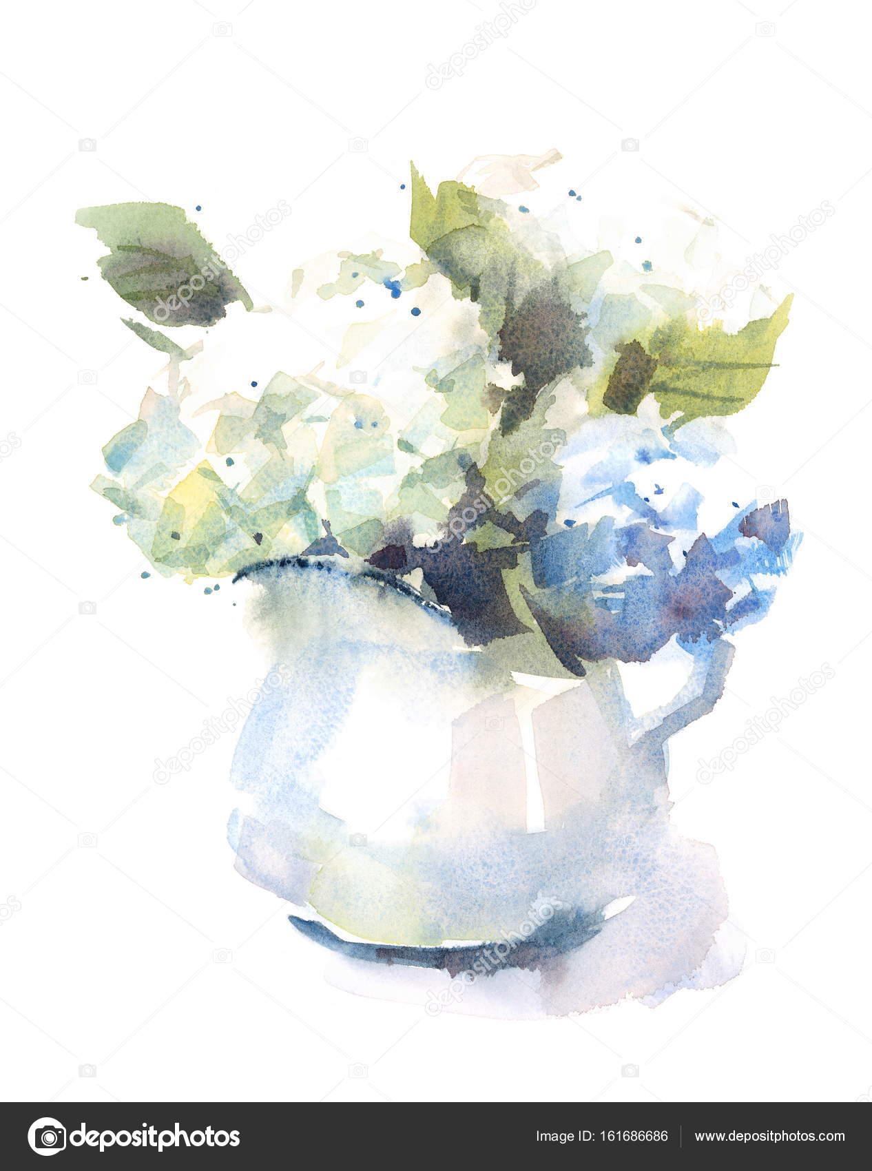 Vase Mit Blumen aquarell hortensie blumen blumenstrauß in einer vase blumen