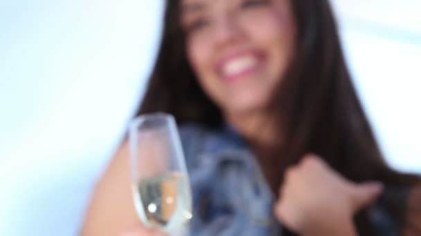 woman toasting with champagne