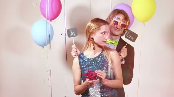 couple in love in photo booth