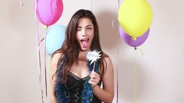 nő, szórakozás, party photo booth