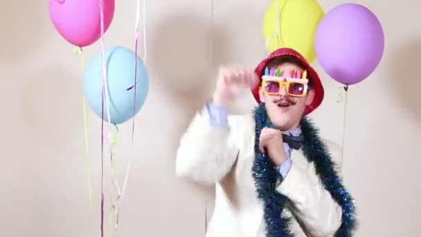 moustache man dancing in party