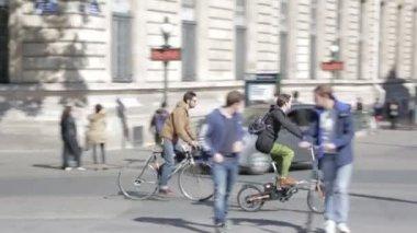 Cyclists on Place de la Republique, Paris