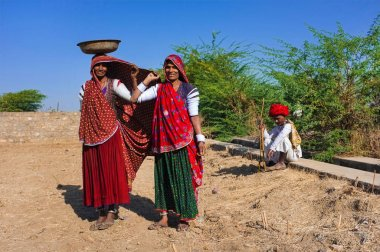GODWAR REGION, INDIA - 14 FEBRUARY 2015: Rabari tribeswomen stand in field wearing sarees and upper-arm bracelets. One balances bucket on head. Rabari are an Indian community in the state of Gujarat. stock vector