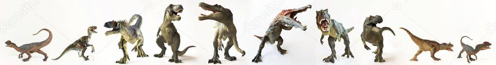 A Group of Ten Dinosaurs in a Row
