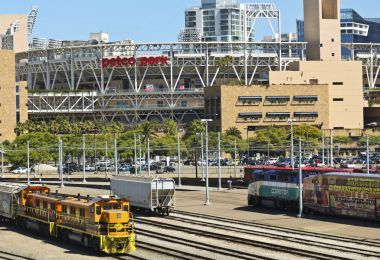 A Metropolitan Transit System Center and Petco Park in San Diego