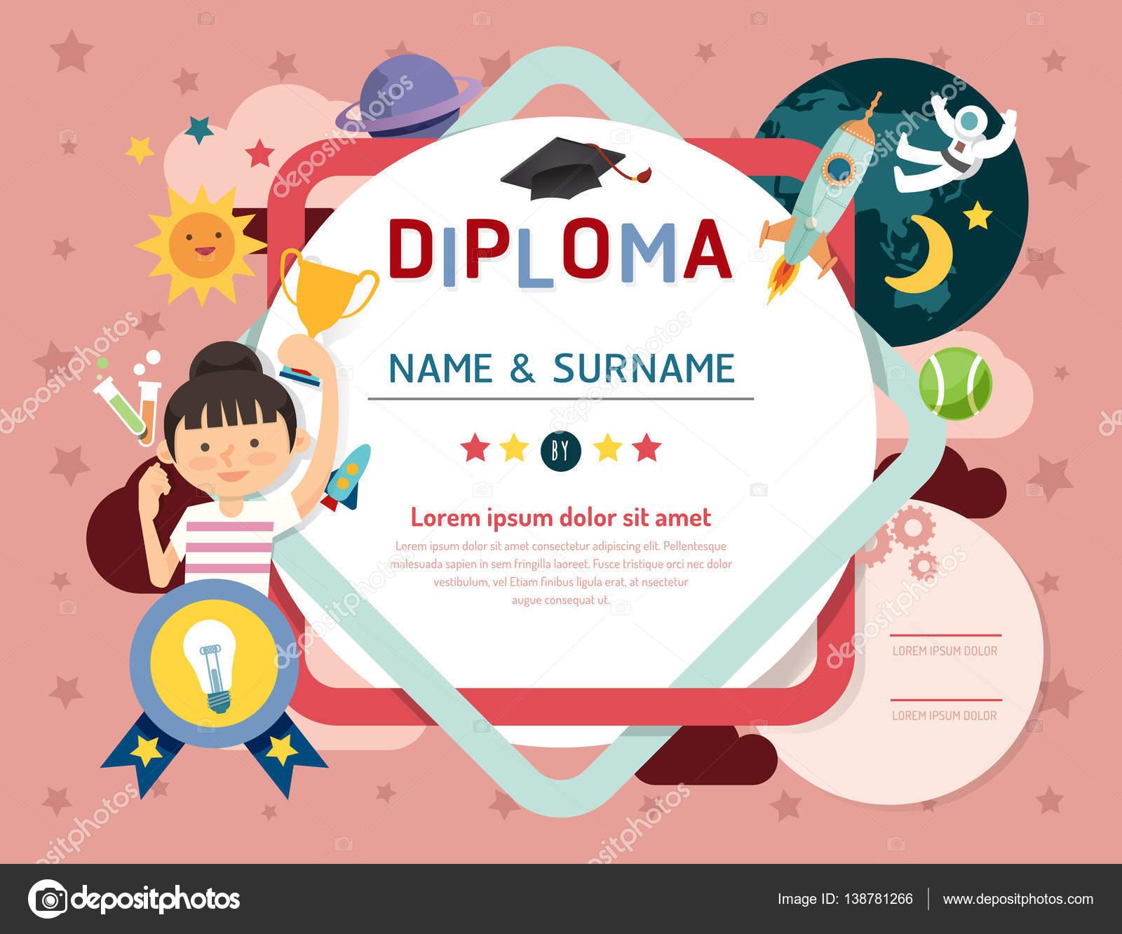 Certificaat kids diploma kleuterschool ruimte voor de layout van de sjabloon stockvector - Ruimte lay outs ...