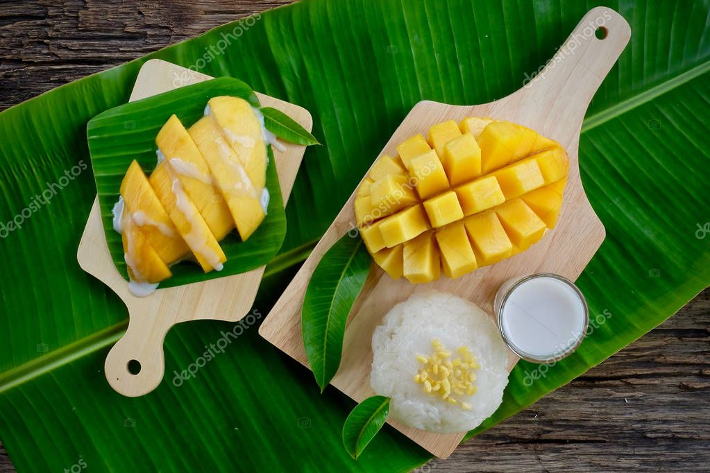 Mango Sticky Rice Dessert Thai Food — Stock Photo ...
