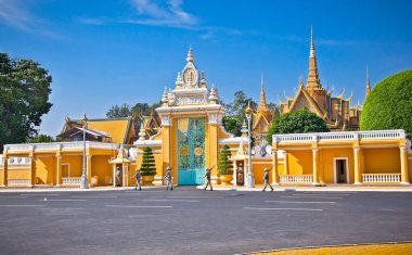 PHNOM PENH, CAMBODIA - DEC 3, 2013: The entrance of Royal palace inPhnom Penh, Cambodia. Phnom Penh is the capital and largest city of Cambodia. Located on the banks of the Mekong River.