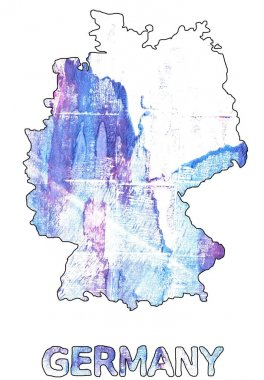 Germany map outline Azureish white watercolor