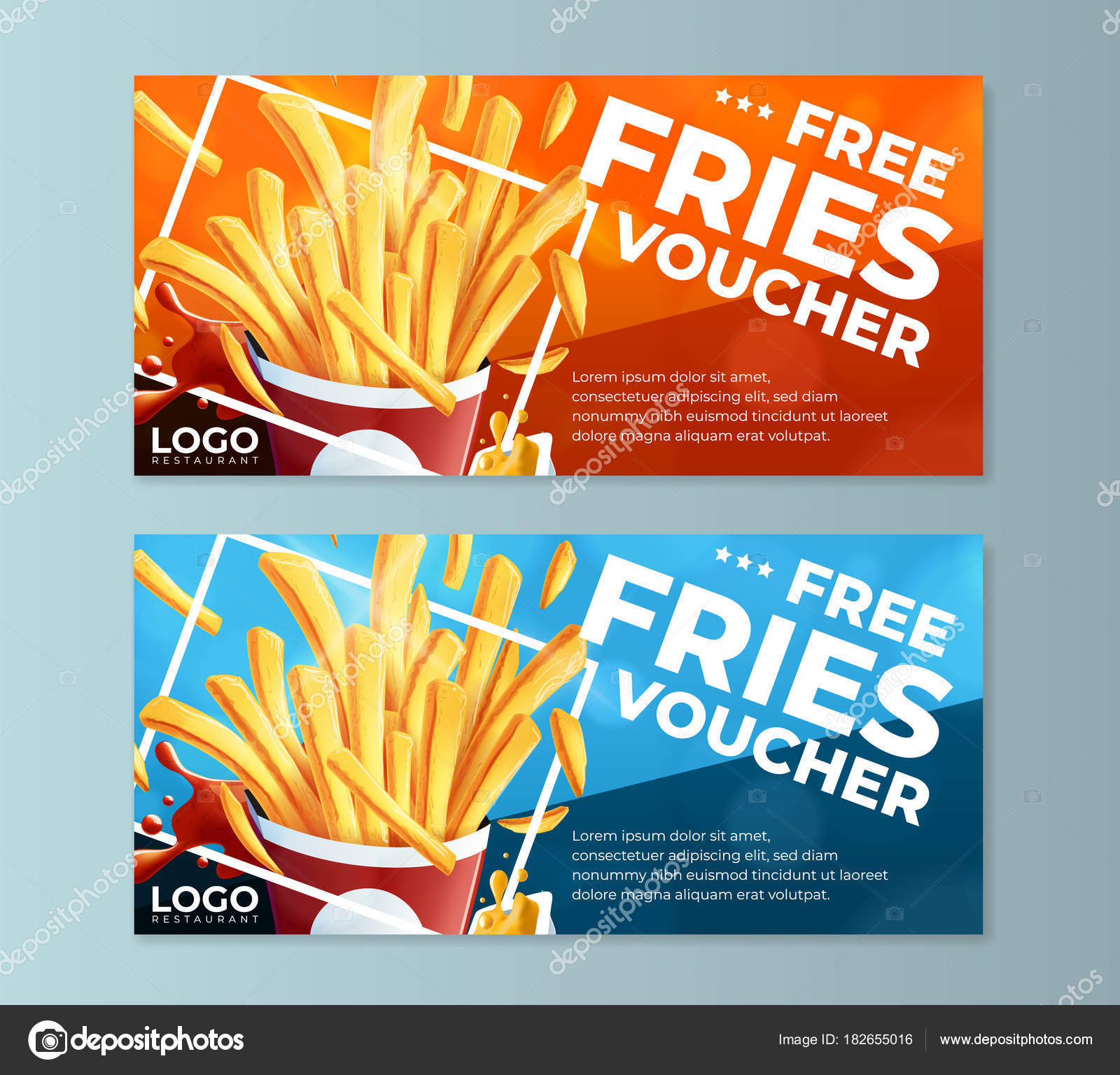 Fast Food Fries Voucher Templates U2014 Stock Vector © Vmalafeevskiy  Depositphotos 182655016 Stock Illustration Fast  Meal Voucher Template