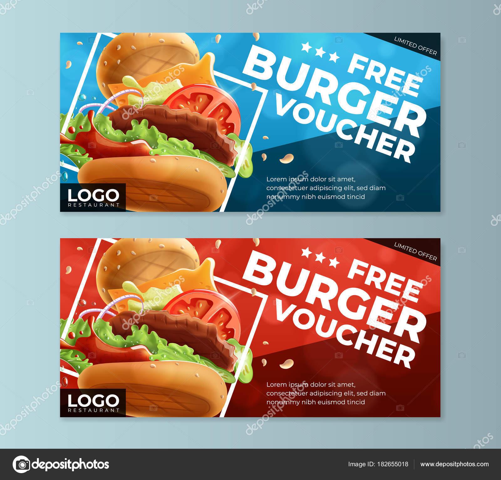 Fast-Food Burger kostenlose Gutschein Vorlage — Stockvektor ...