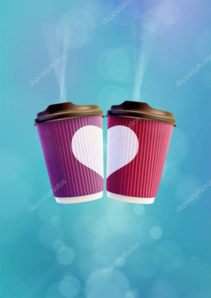 Coffee Love Poster Template. Pink and Violet Ripple Cups with a White Heart on a Blue Sky Background