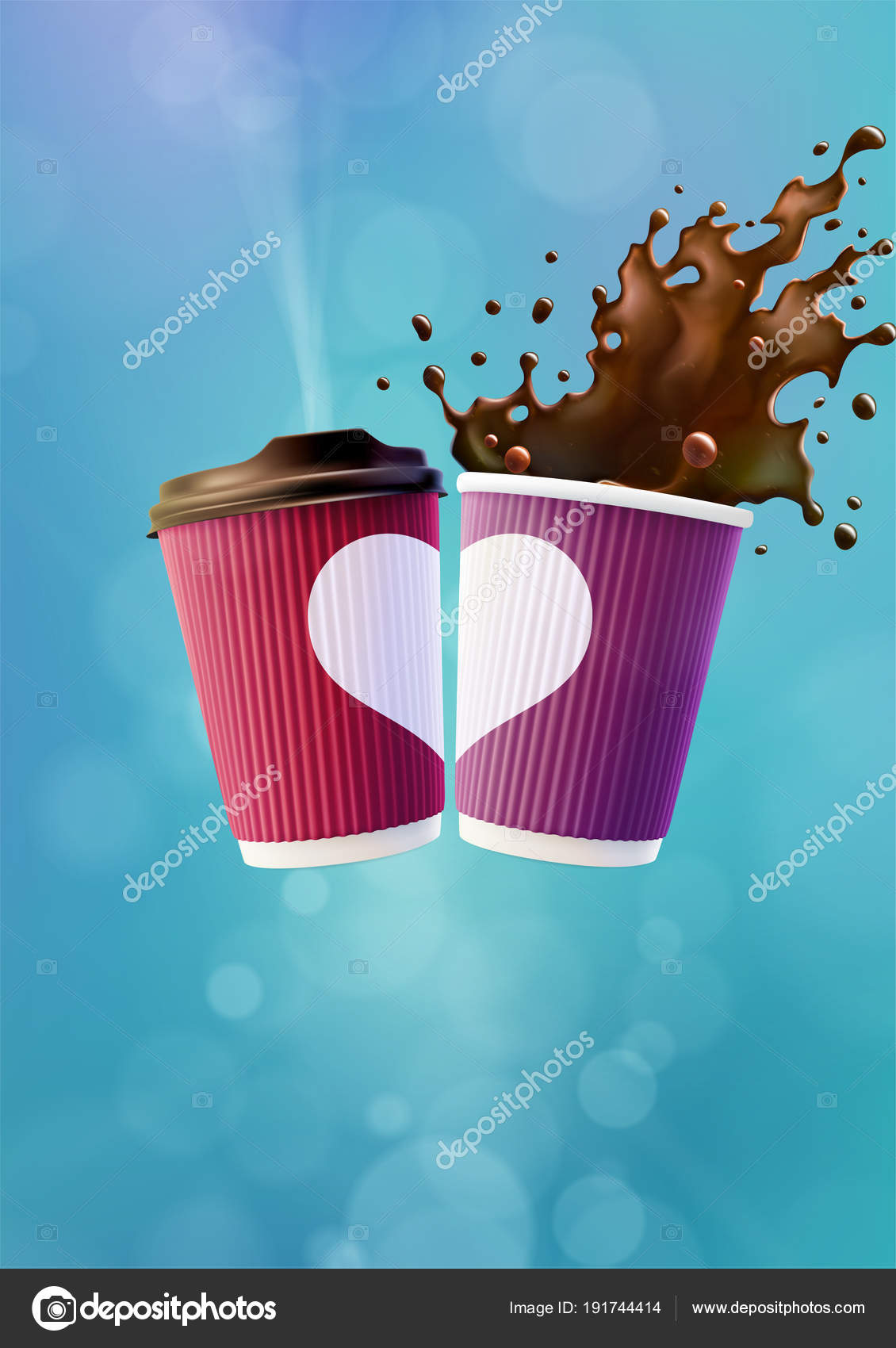 Café amor Poster plantilla. Tazas de ondulación de color rosa y ...