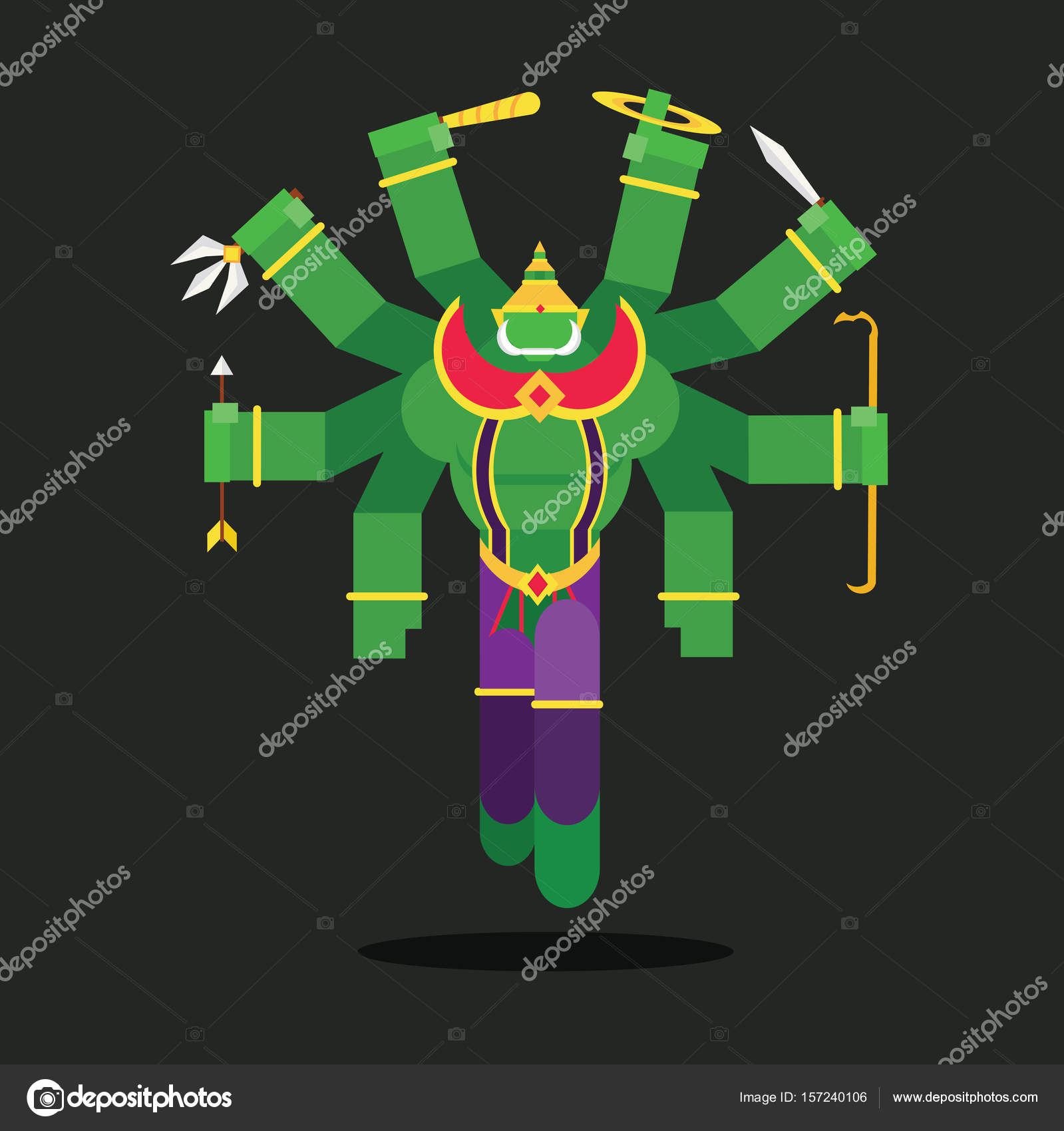 Tossakan is a giant in the Ramayana of Thailand. — Stock Vector ... 33bf6c62516