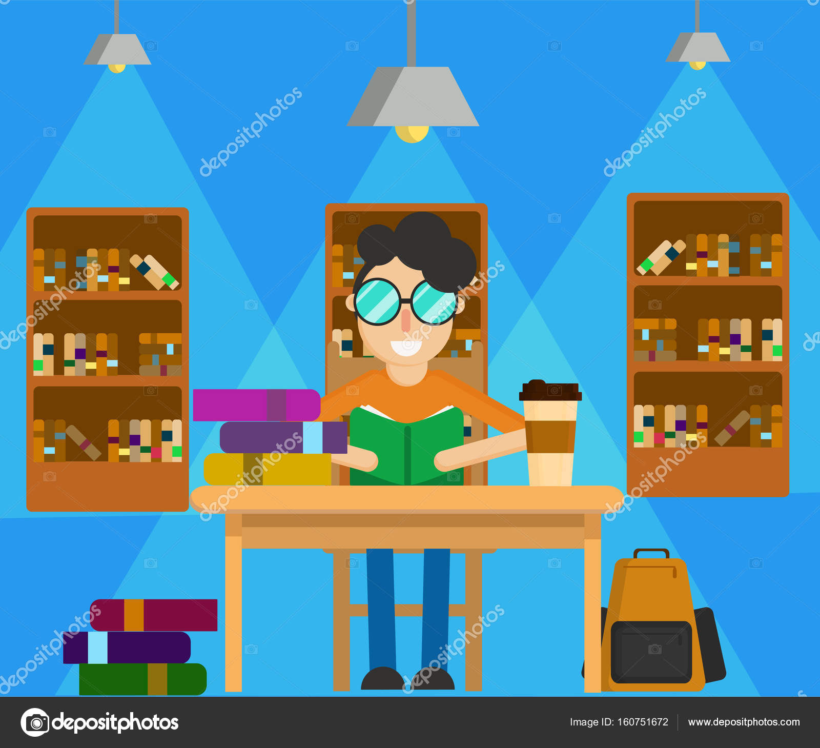 Student Read Book Stock Vector C Monuttanit 160751672
