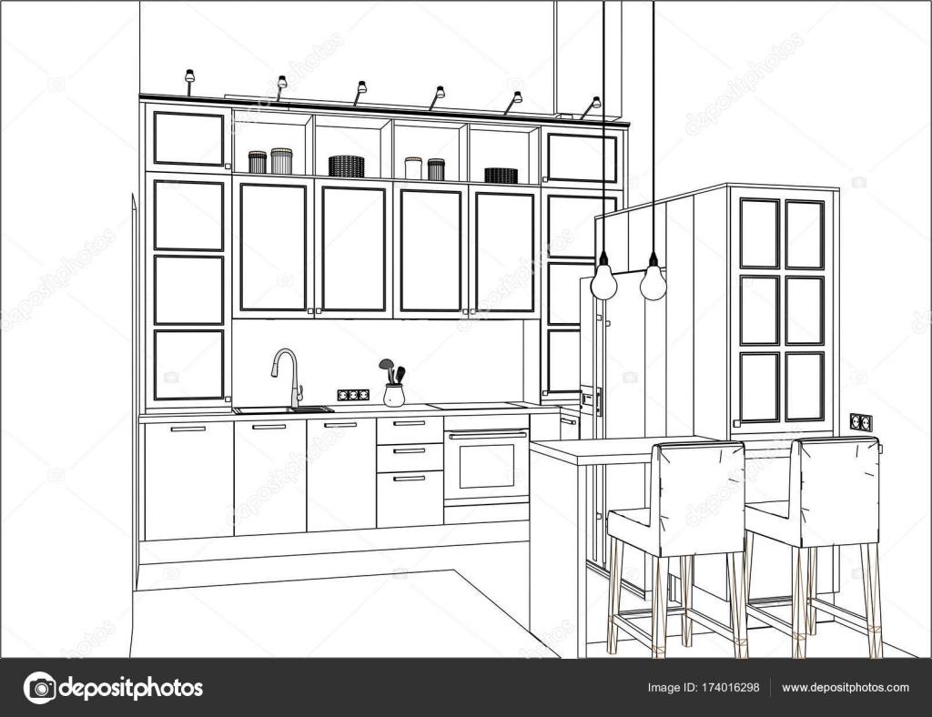 3d Desenho De Vetor Projeto Da Cozinha Cl Ssica No Interior Do