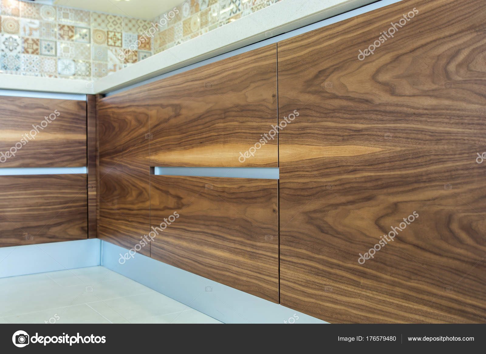 Modern home interior wood texture wooden surface of the kitchen facades are made from walnut veneer european furniture design technologies