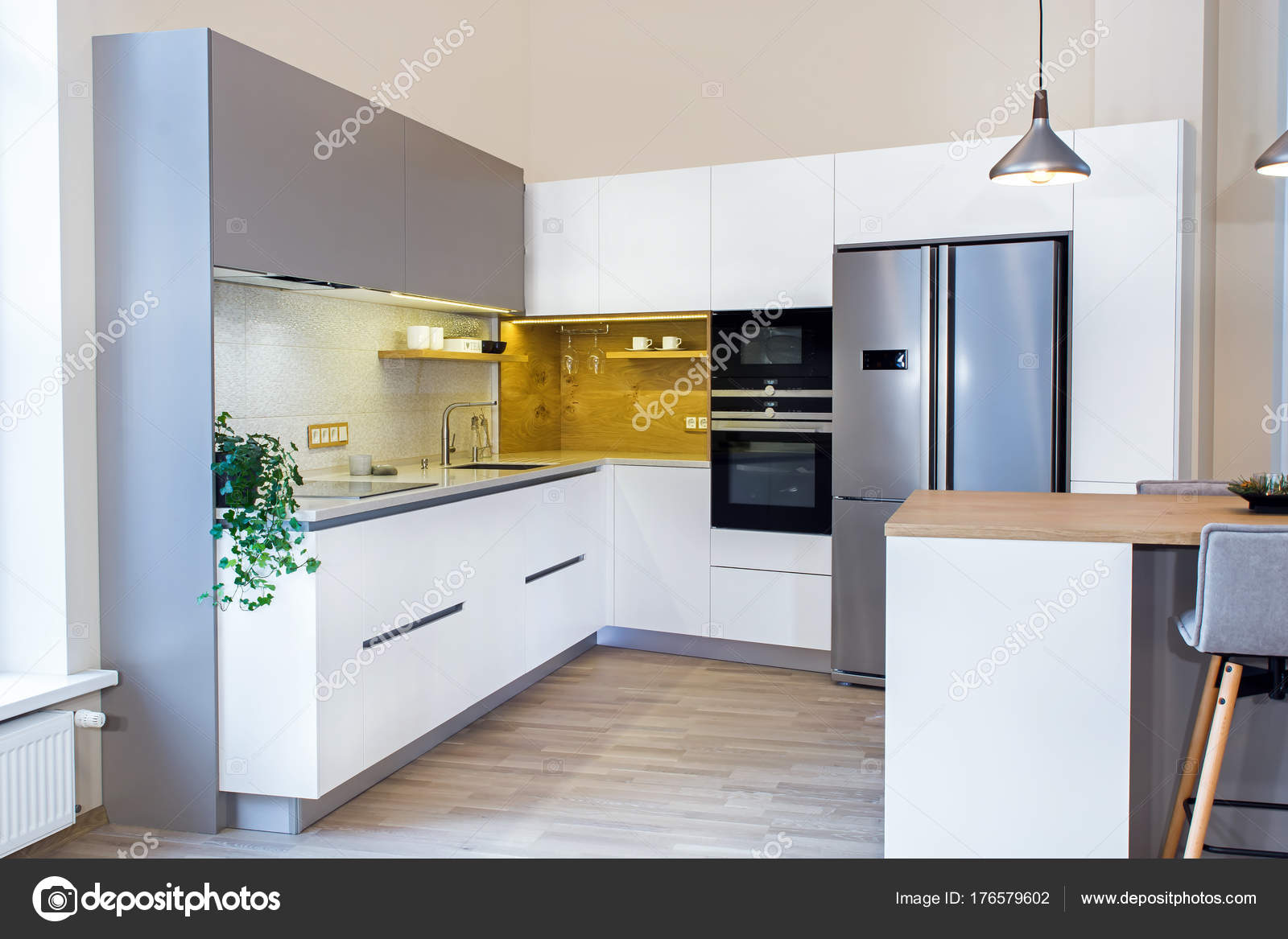 Moderne Wohnlandschaft Moderne Küchendesign Hellen Innenraum Zimmer ...
