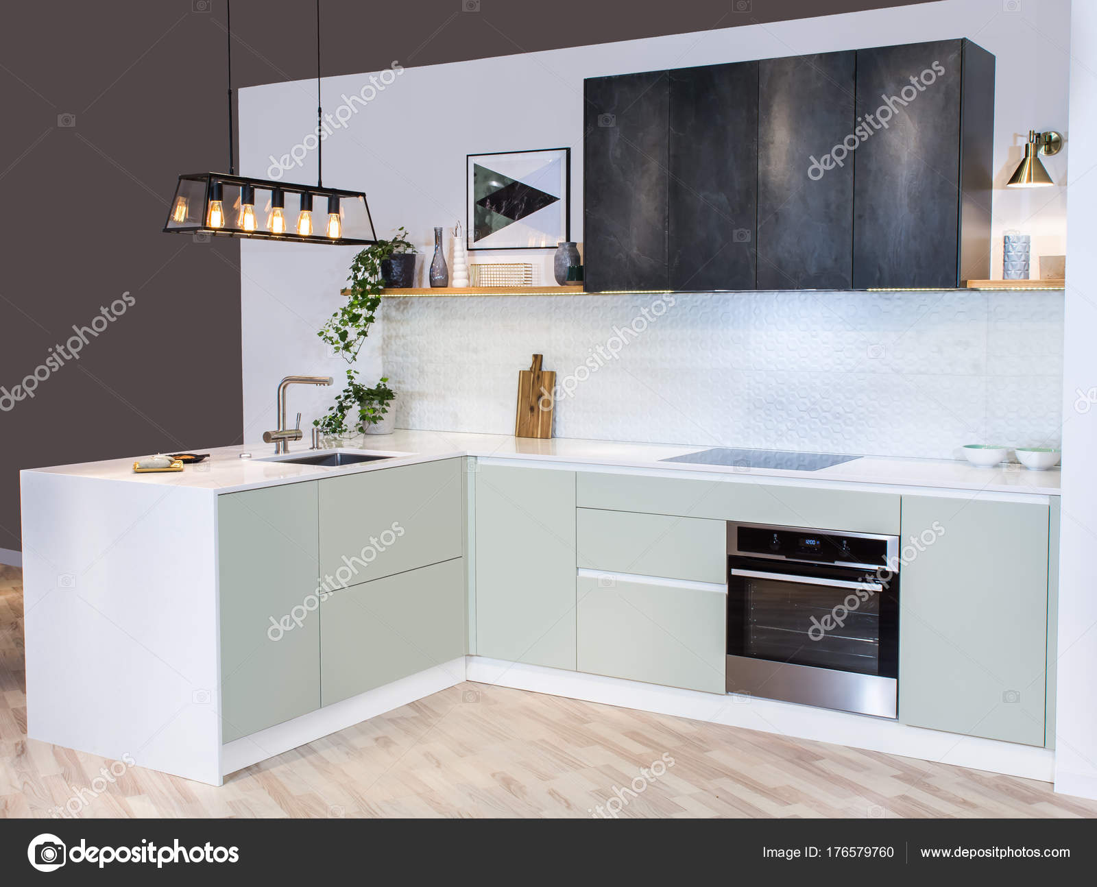 Moderna Casa Interior Vista Frontal Cozinha Moderna Uma Luz