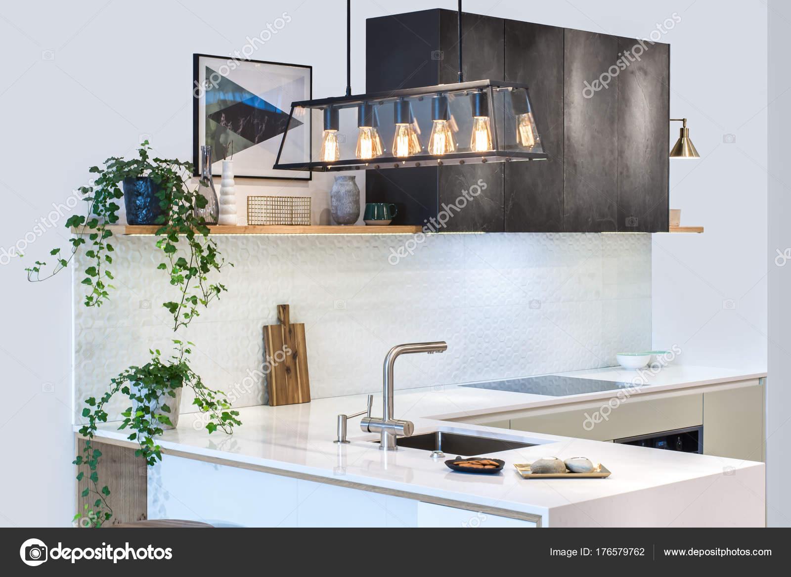 Moderne Wohnlandschaft Moderne Kuchendesign Hellen Innenraumen