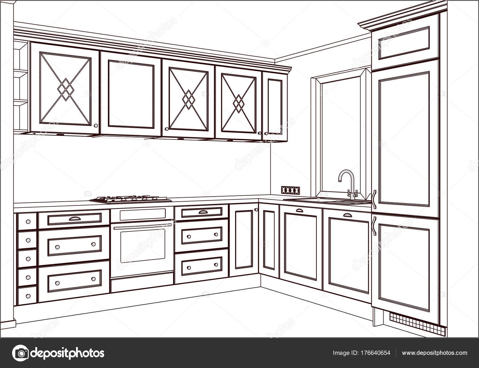 Vector Sketch Classic Kitchen Design Home Interior Kitchen Sketch ...