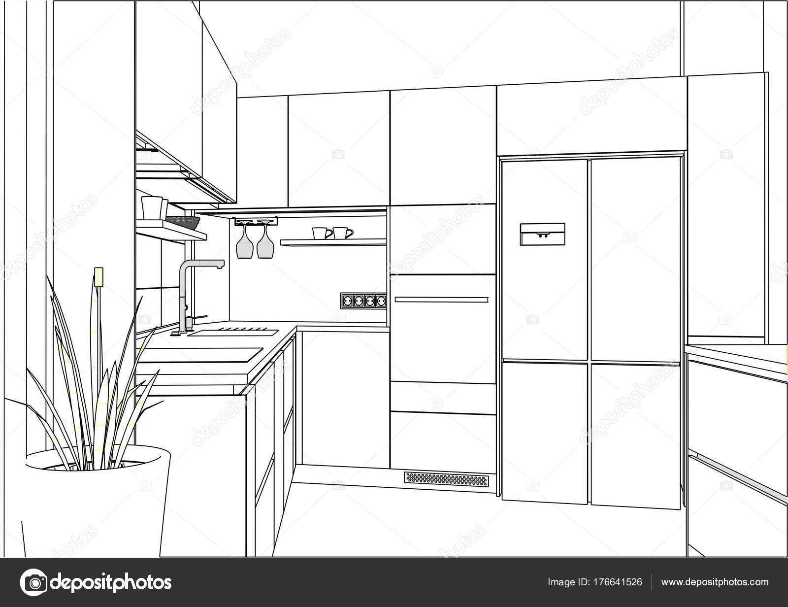 3D Vector Sketch. Modern Kitchen Design In Home Interior. U2014 Stock Vector