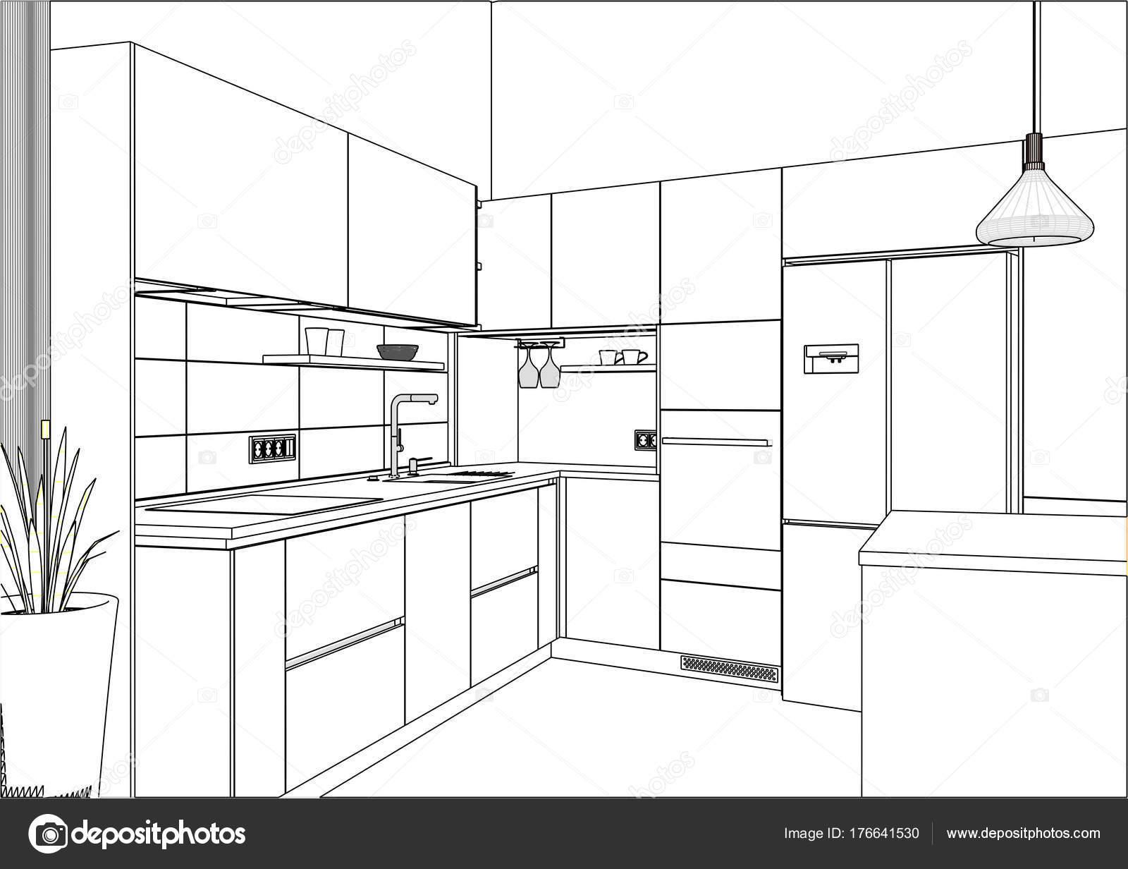 Küche Skizze Zimmer Gibt Auch Eine Kücheninsel Küche Und Wohnzimmer ...