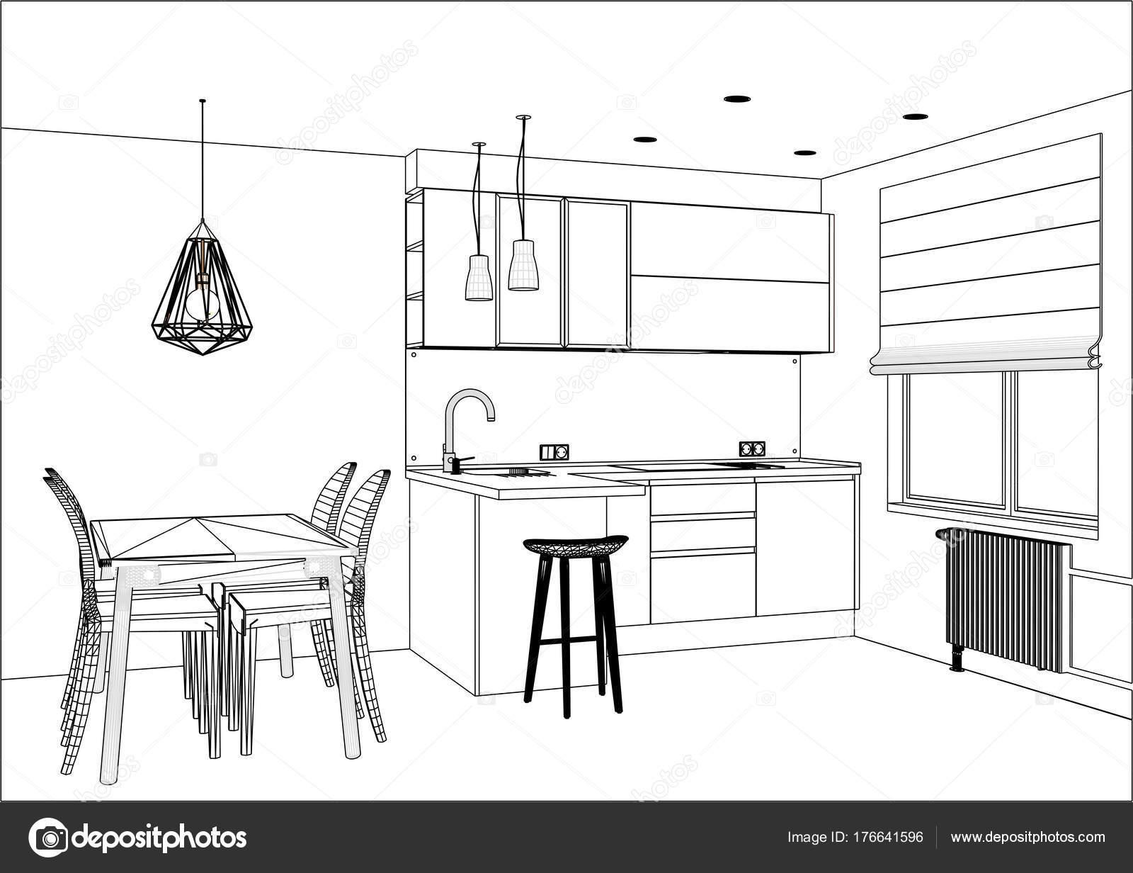 dibujo de vector 3D. Cocina de moderno diseño interior Apartamento ...