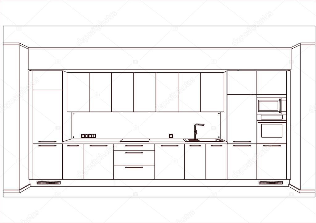 3d Vector Beautiful Modern Linear Kitchen Design In Light Interior Kitchen Sketch There Is Also Kitchen Appliances And Decorations Home Design Software Programs Project Management Premium Vector In Adobe Illustrator Ai