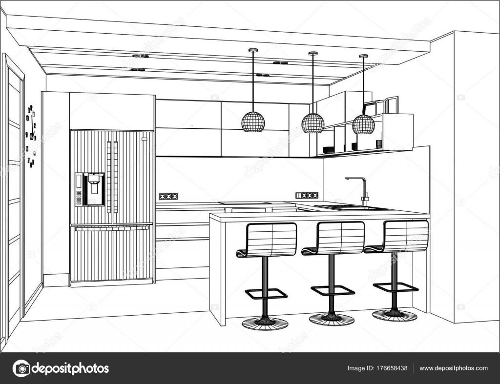 schizzo di vettore 3D. Disegno della cucina moderna nell\'interiore ...