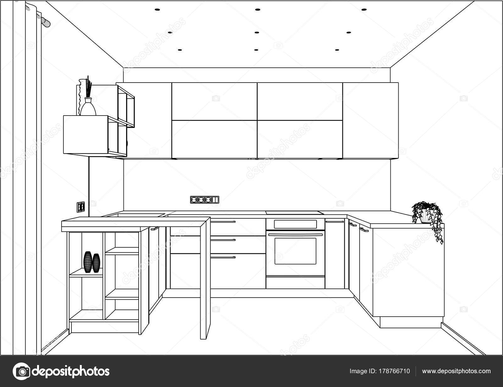 Croquis de cuisine avec des décorations et des appareils. Il y a aussi une  péninsule de cuisine dans la chambre — Vecteur par richard salamander 1dd023112c21