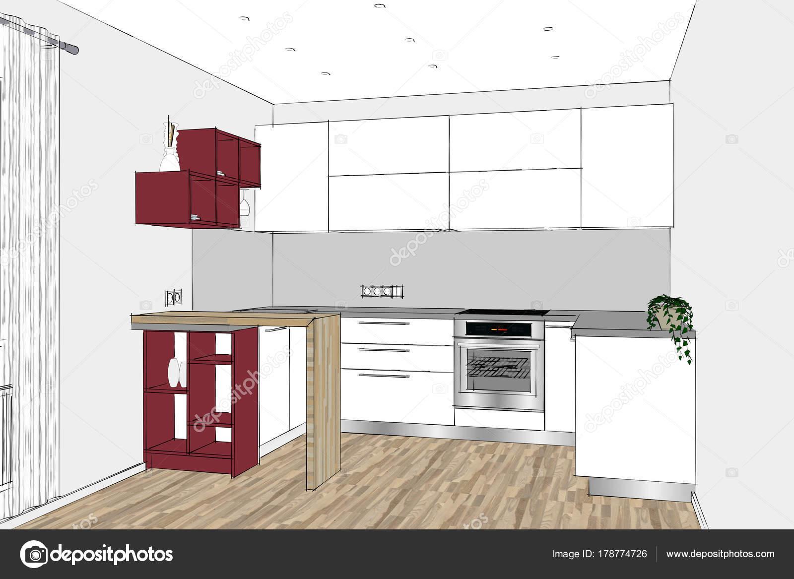 Rendering Moderne Küchendesign Hellen Innenraum Design Skizze Zimmer ...
