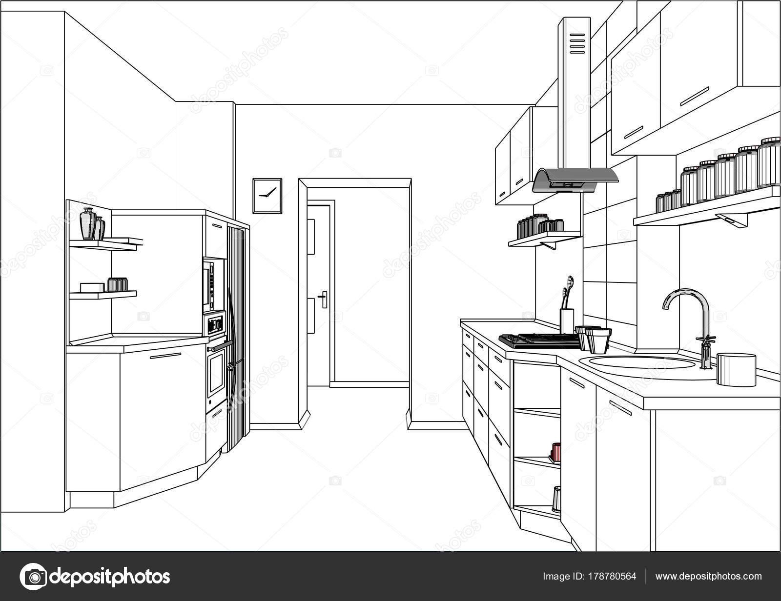 3D vector sketch. Modern kitchen furniture design in ...