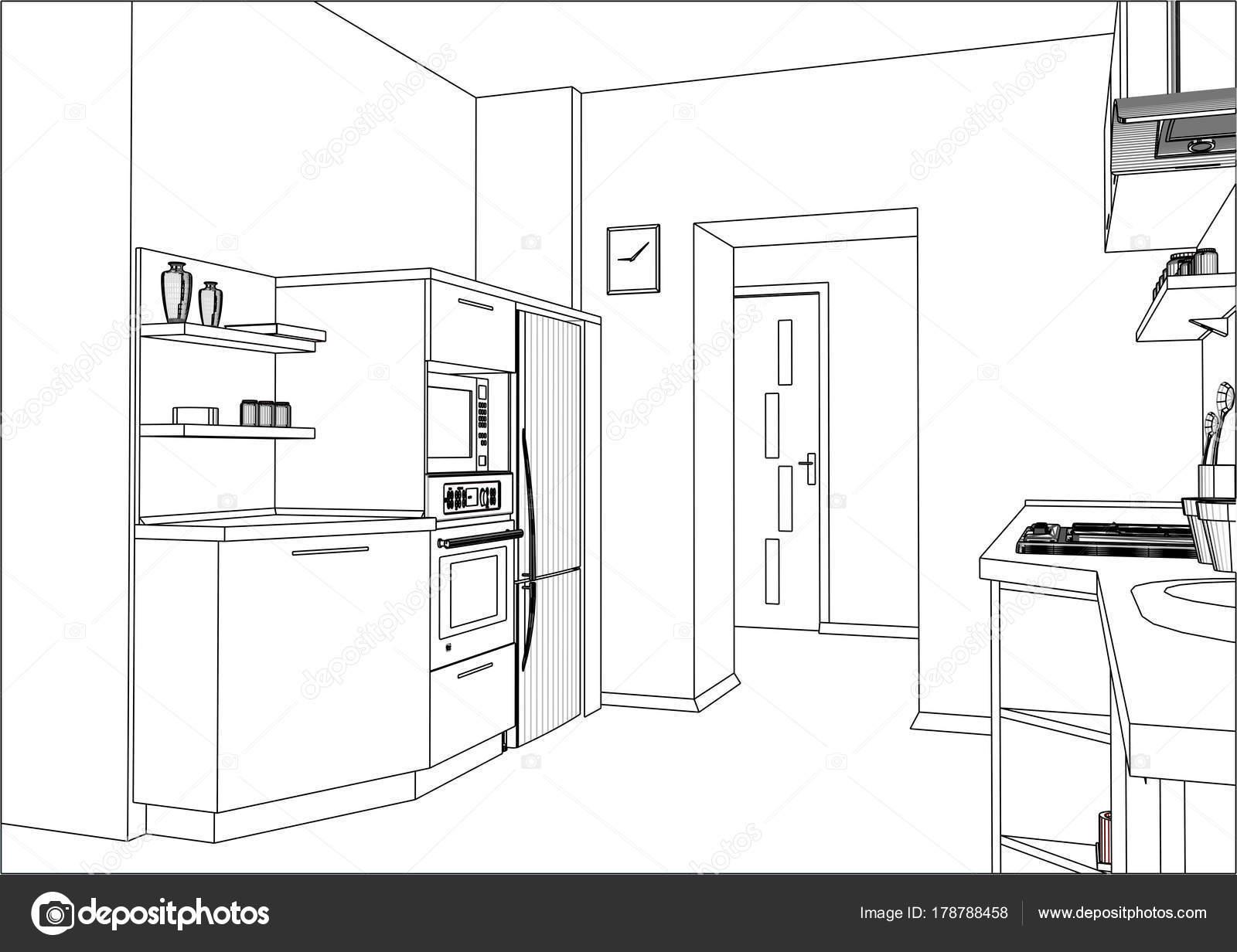 Moderne Küche Möbel Design Im Interieur Der Wohnung U2014 Stockvektor
