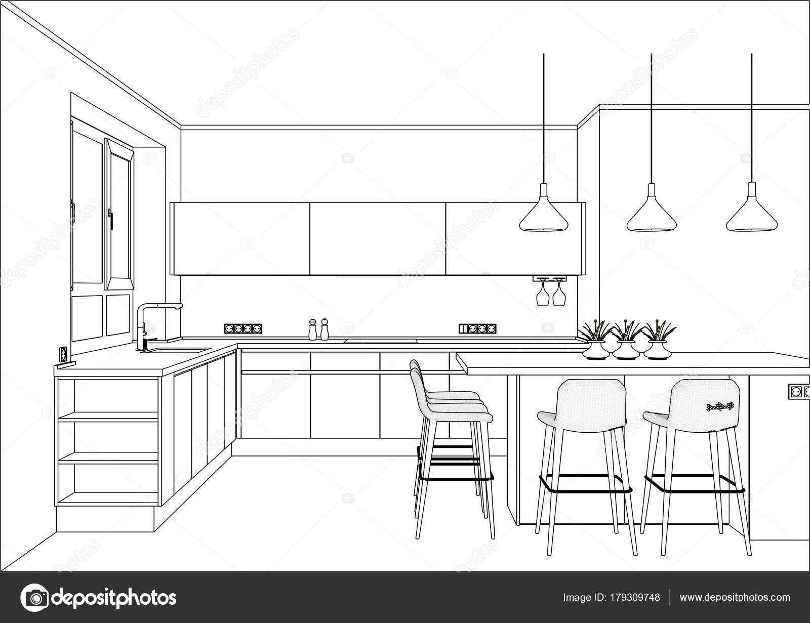 3d Vector Sketch Modern Kitchen Design In Home Interior Stock Vector C Richard Salamander 179309748