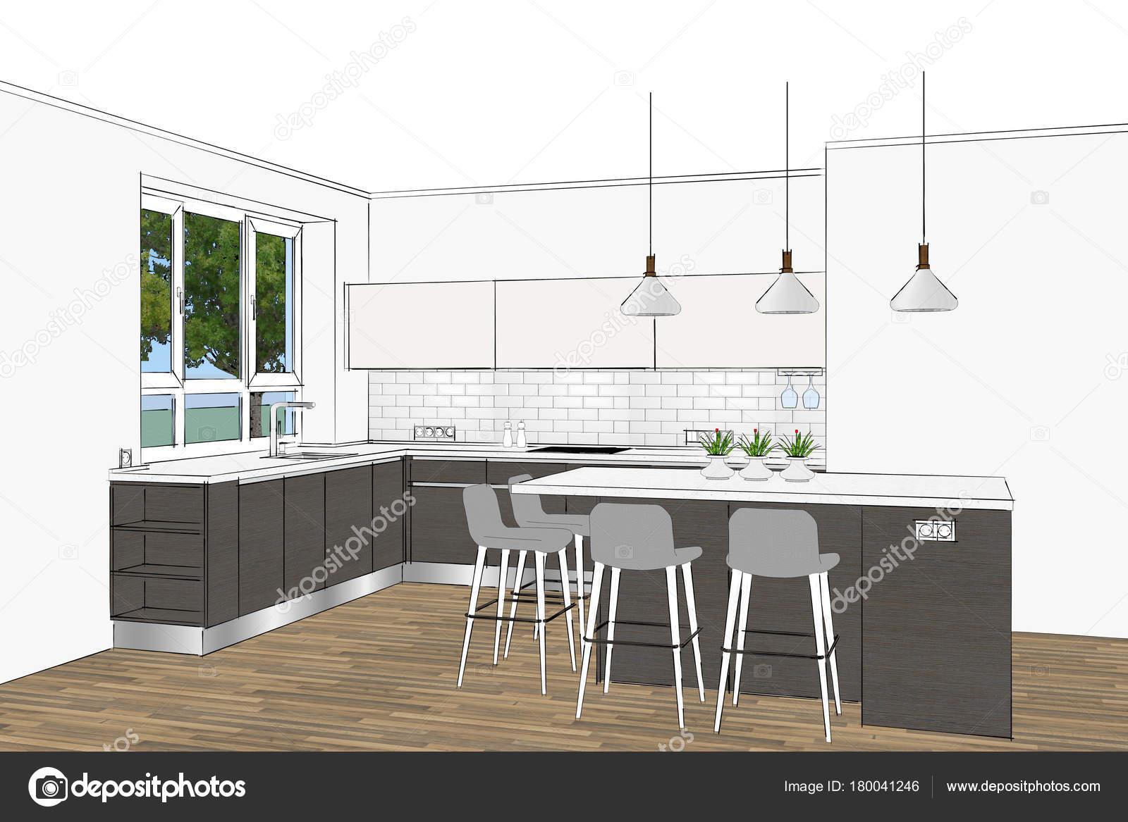 Rendering Moderne Küchendesign Hellen Innenraum Küche Skizze Zimmer ...